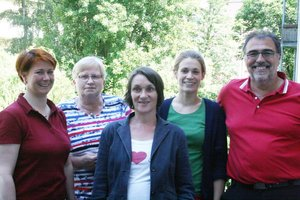 Das Team der Caritas-Wohnheime: Dörte Bayo, Sylvia Döring, Sybille Trzenschik, Lisa Mareike Berger, Hans-Joachim Steiner