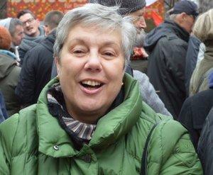 """Felizitas Teske ist (fast) immer im Einsatz. Hier zum Beispiel ist sie bei der Demo """"Bunt statt Braun"""" dabei. © pkh"""